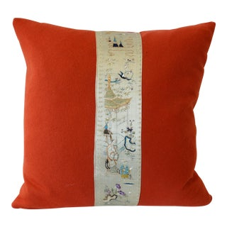 Antique Chinese Silk Embroidered With Burnt Orange Wool Pillow