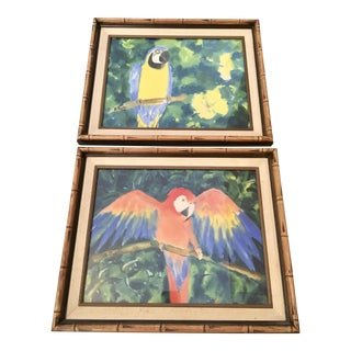 H.Martin Tropical Parrot Watercolor Paintings- A Pair