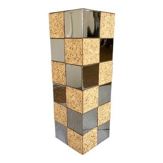 Paul Evans Style Cork & Chrome Pedestal Plant Stand