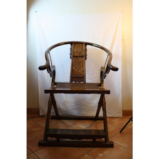 Chinese Carved Rosewood Folding Chairs - A Pair - Image 2 of 11