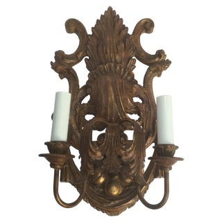 Vintage Italian Baroque Gilt Finish Wall Sconce