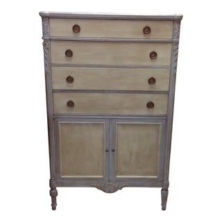 Seven Drawer Gray Painted Highboy Dresser