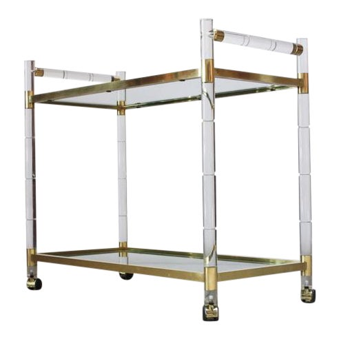 Charles Hollis Jones Lucite Faux-Bamboo and Brass Serving Cart - Image 1 of 11