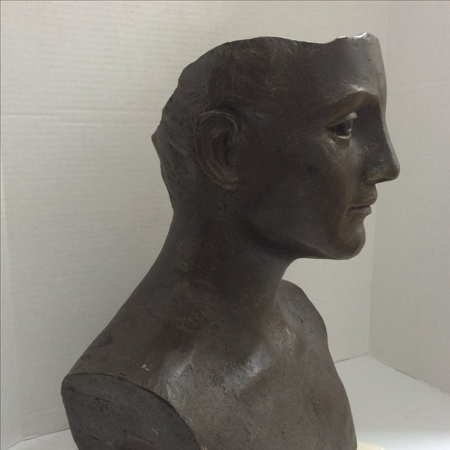 Modernist Male Bust Bronze Sculpture - Image 6 of 11