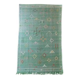 Green Moroccan Cactus Silk Rug - 6′ × 9′9″