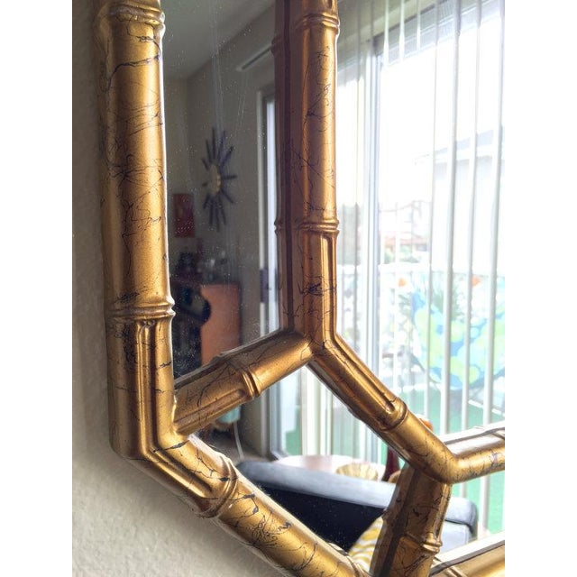 Image of Hollywood Regency Bamboo Mirror in Gold & Ink