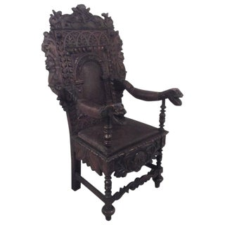 19th Century English Carved Throne Chair