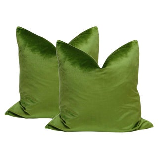"22"" Italian Silk Velvet Pillows in Peridot Green - a Pair"