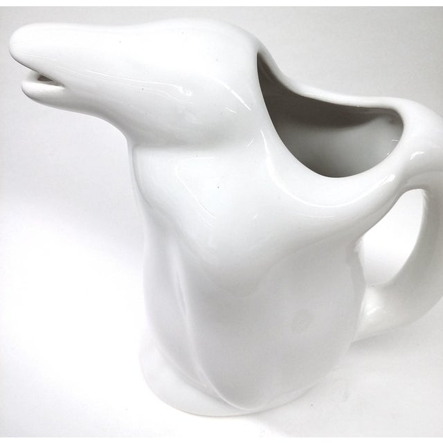 Image of White Penguin Water Pitcher Mid Century Design