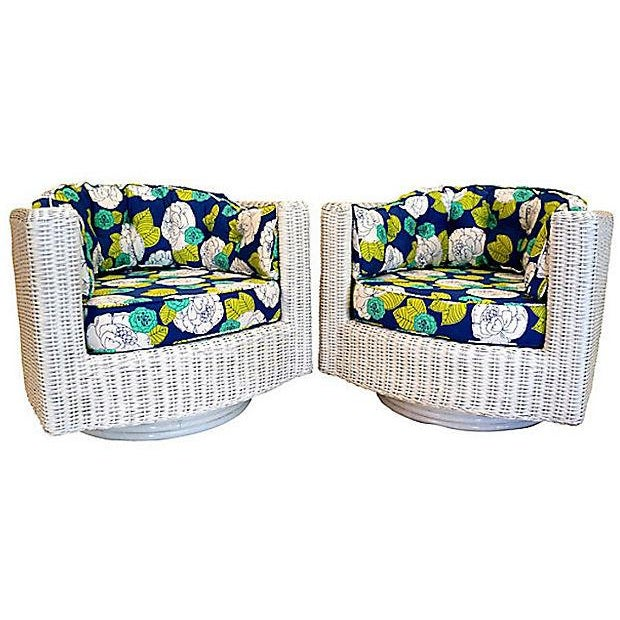 Wicker Yellow Green Swivel Chairs - A Pair - Image 4 of 4