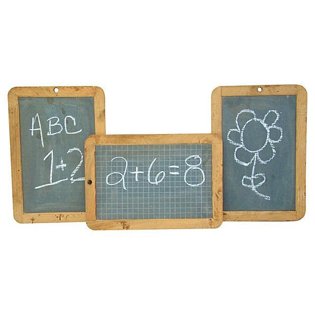 Image of Vintage French Slateboard Chalkboards - Set of 3