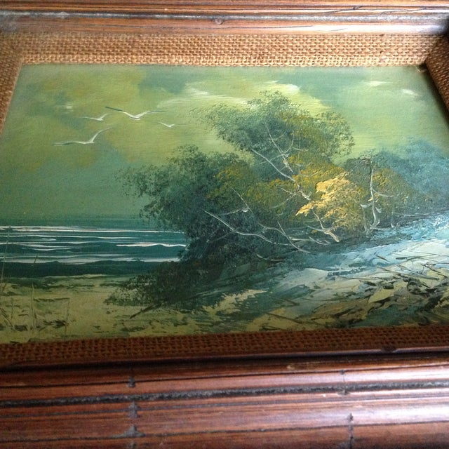 Image of Vintage Oil on Board Seascape Painting