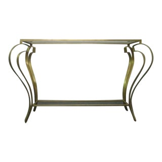 Hollywood Regency Iron Gold Gild Console Table