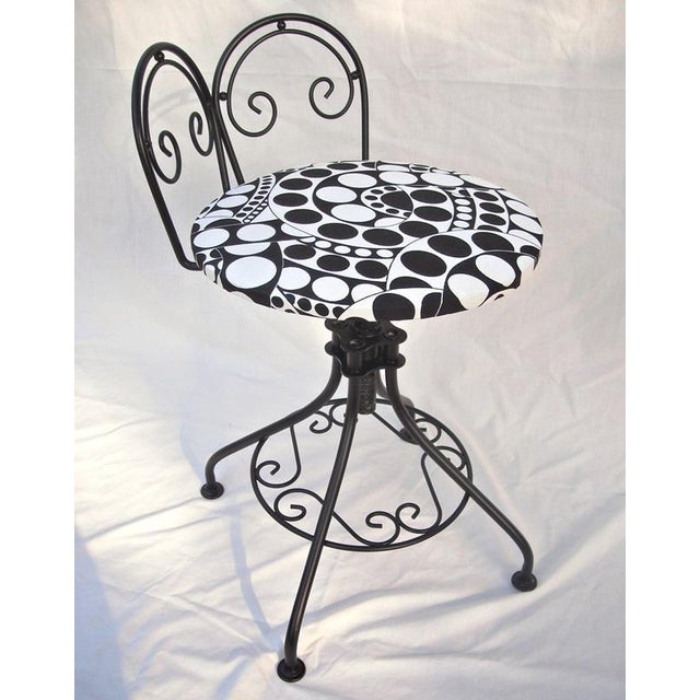 Hollywood regency black geometric vanity stool chairish - Black and white vanity stool ...