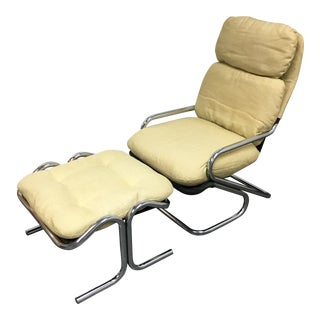 Jerry Johnson Mid-Century Sling Lounge Chair & Ottoman - A Pair