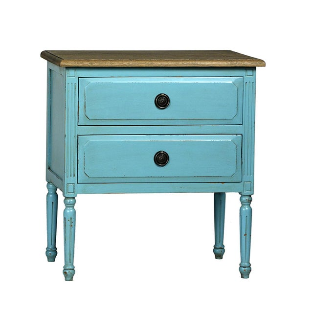 Teal Distressed Side Table - Image 2 of 2