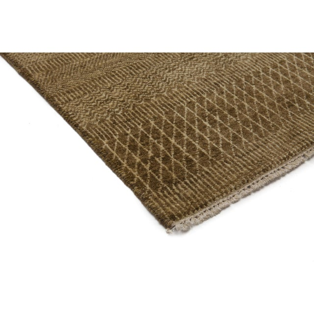 """New Tonal Stripe Hand Knotted Area Rug - 9' x 11'8"""" - Image 2 of 3"""