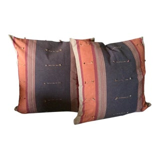 Large Hand Loomed Decorative Pillows - a Pair