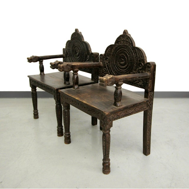 Antique Carved Wood Occasional Chairs - A Pair - Image 3 of 11