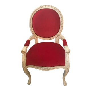 French White Wood & Raspberry Velvet Accent Chair