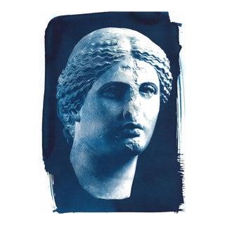 Roman Woman Bust Cyanotype Print