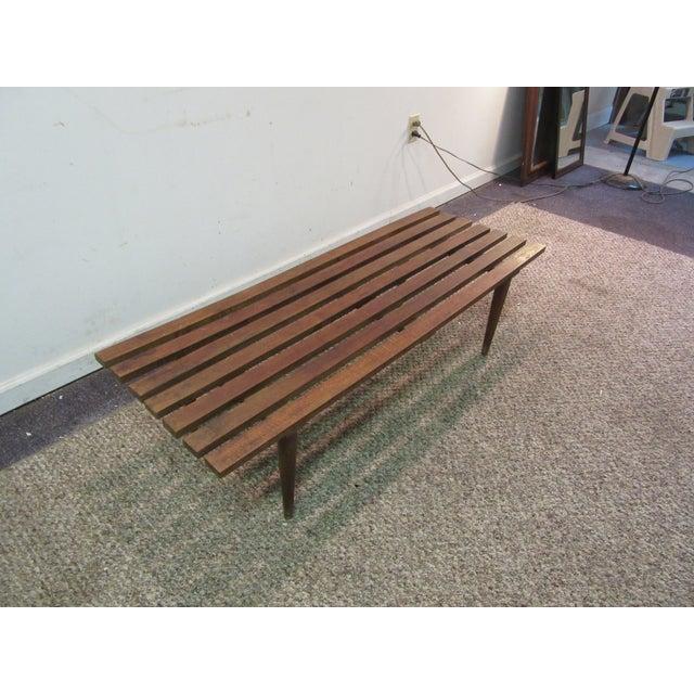 Danish Modern Walnut Slat Bench Coffee Table - Image 3 of 11