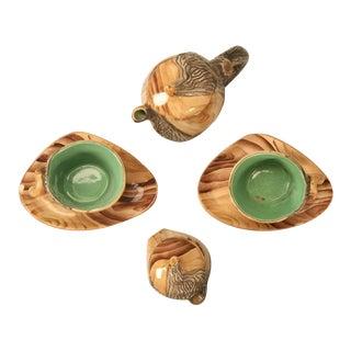 Vintage French Six-Piece Faux Bois Tea Set