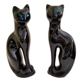 Vintage Mid-Century Modern Art Deco Siamese Cats - A Pair