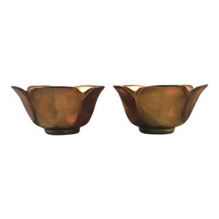 Vintage Solid Brass Lotus Bowls - A Pair