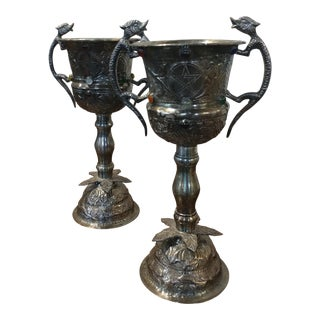 Pair of beautiful Gothic Chalices Silver & Jewels w/Lizard Handles