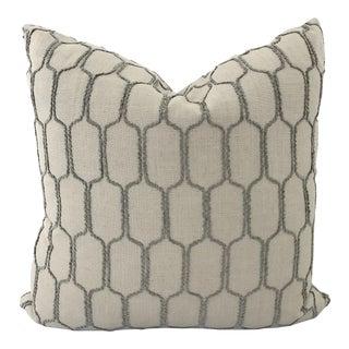 Stone Grey Raised Octagon Pattern Pillow