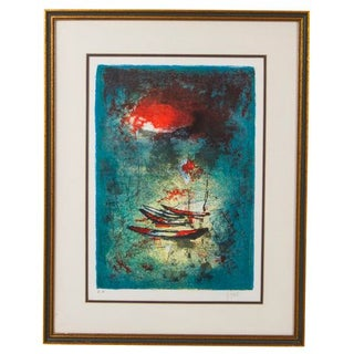 MCM Lithograph of Fishing Boats, Signed Hoi