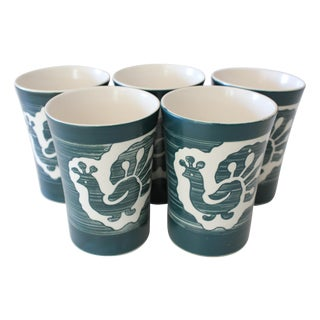 Kinkozan Japan Peacock Pottery Tumblers - Set of 5