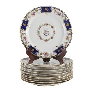 Set of 12 Spode Copeland China 'Courage Et Fidelitas' Dinner Plates #200, Circa 1890