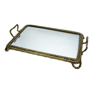 French Baccarat Bronze and Mirrored Antique Table Vanity Tray Mirror Plateau Faux Bamboo