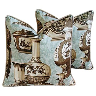 Custom Chinoiserie Vase Feather/Down Pillows - a Pair
