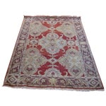 Image of Red/White Patterned Turkish Rug - 4′ × 5′9″