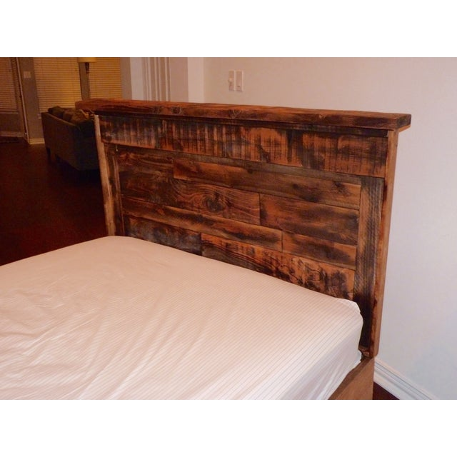 Image of Shabby Chic Reclaimed Wood Queen Bed Frame