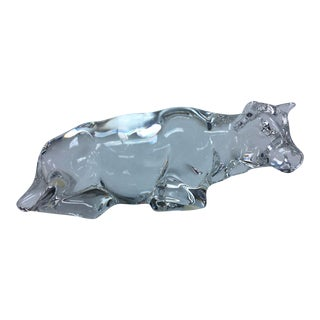 Baccarat Crystal Cow Paperweight