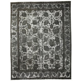 "Vintage Hand Knotted Gray Floral Motif Wool Area Rug - 9' 6"" X 12' 1"""