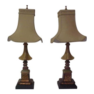 Asian Style With Faux Leopard Trim Table Lamps - a Pair