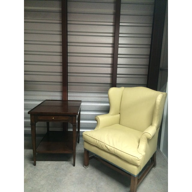 Image of Vintage Pale Green Wing Chairs - A Pair