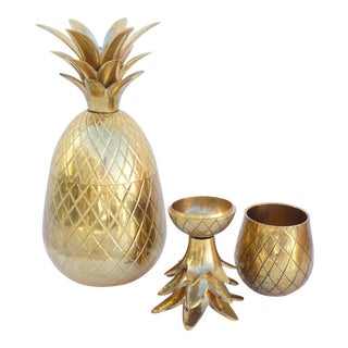 Pair of Vintage Brass Pineapple Jars