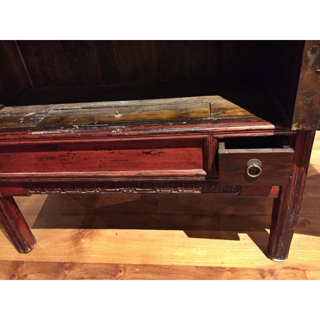 Antique Chinese Red Carved Cabinet - Image 9 of 9