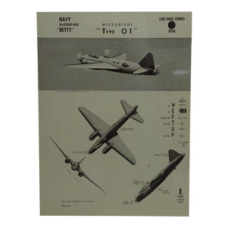 "Vintage WWii Aircraft Recognition Poster ""Mitsubishi - Type 01"", Japan, 1943"