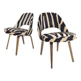 Vintage Eero Saarinen for Knoll Walnut & Restored Zebra Hide Executive Chairs -a Pair