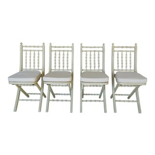 Faux Bamboo Hollywood Regency Cane Bottom Folding Chairs - Set of 4