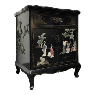 Vintage Asian Chinoiserie Mother of Pearl Cabinet Chest Nightstand