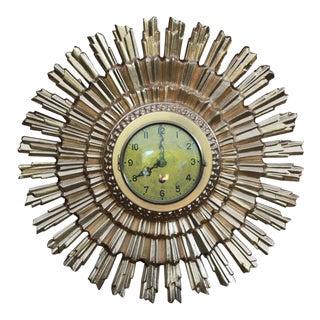 Mid-Century Modern Atomic Metal Gold Gilt Starburst Wall Clock