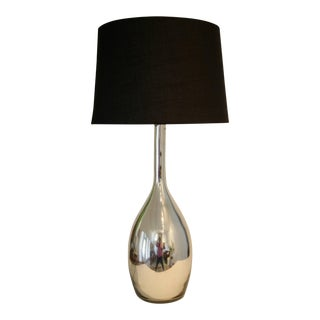 Elegant Mercury Glass Lamp with New Black Linen Shade